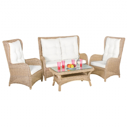 Kensington 5mm Rattan Classic 4 Seater Lounge Set in 4 Seasons